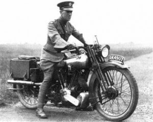 T.E. Lawrence on his motorcycle