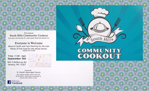 Front and back of postcard announcing event