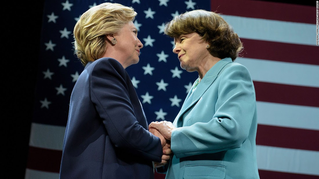 Hillary Clinton and Sen. Dianne Feinstein embrace during a fundraiser on October 13, 2016, in San Francisco.