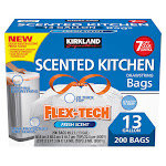 Kirkland Signature Flex-Tech 13-Gallon Scented Kitchen Trash Bags, 200-Count