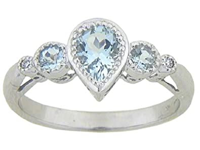 10k White Gold Aquamarine 3-Stone Ring with Diamond-Accent