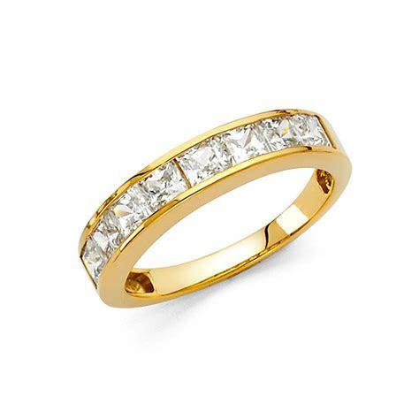 14k Yellow Gold Diamond Square Princess Cut Channel Set