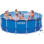 Intex 15' x 48 inch Metal Frame Above Ground Swimming Pool with Filter Pump, Blue