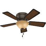 """Hunter Conroy 2-Light 42"""" Indoor Flush Mount Ceiling Fan in Onyx Bengal"""