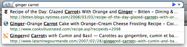 Firefox 3's AwesomeBar in action - two keywords