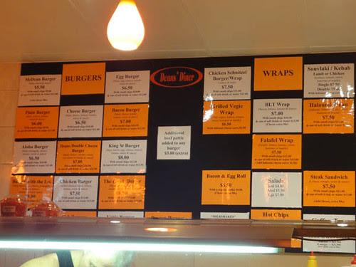 Dean's Diner: Burgers & wraps menu