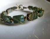 Wire Wrapped Glass Bead Bracelet - Gold and Deep Green