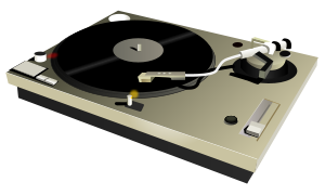 A DJ (disk jockey or dee jay) turntable scalab...