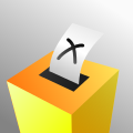 A coloured voting box
