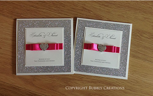 Glitter Bow Wedding Invitation - Silver Glitter with satin ribbon and diamante heart embellishment