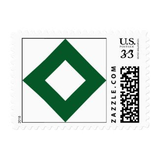 White and Green Diamond Pattern Stamp