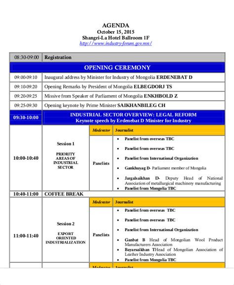 ceremony agenda templates   word  format