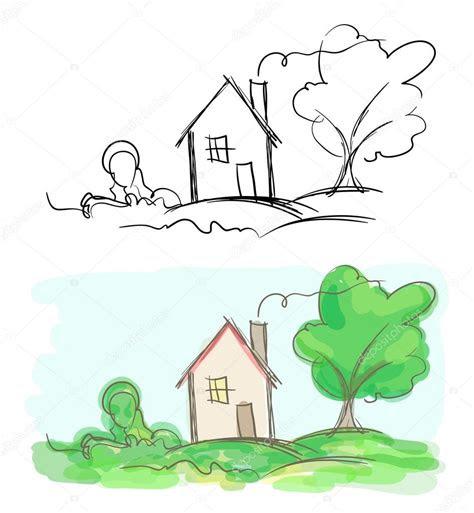 koey evi ve agac vektoerel cizimler siyah beyaz ve  stok