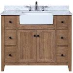 "Ari Kitchen & Bath Sally 42"" Solid Wood Bathroom Vanity in Ash Brown - AKB-SALLY-42-ASHBR"