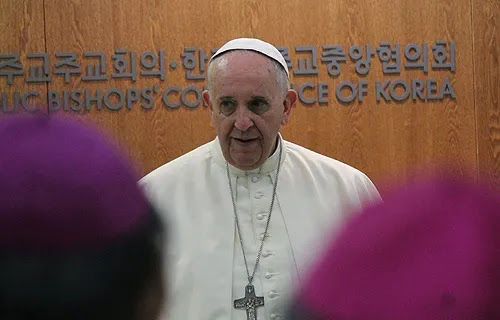 Pope Francis addresses the Korean Bishops' Conference in Seoul, South Korea on August 14, 2014. Credit: Alan Holdren/CNA.