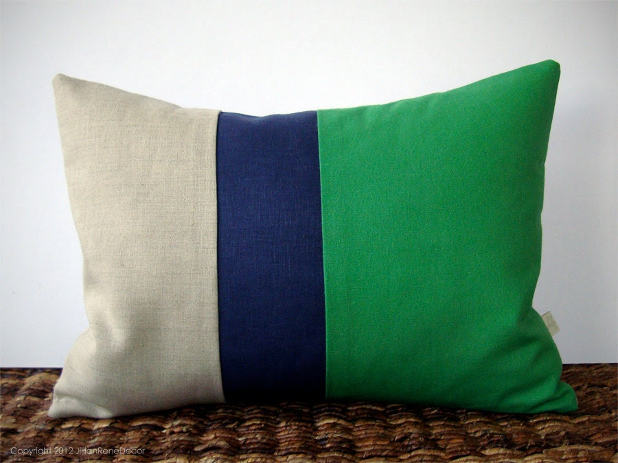 Color Block Stripe Pillow in Kelly Green, Navy and Natural Linen by JillianReneDecor (12x16) Modern Home Decor Stripe Trio
