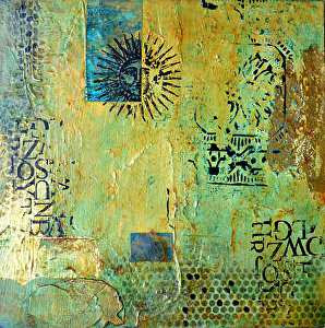 "Aztec Sun I by Filomena Booth Mixed ~ 12"" x 12"""
