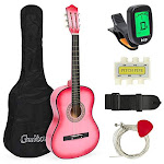 Best Choice Products 38in Beginner Acoustic Guitar Starter Kit W/case Strap Digital E-tuner Pick Pitch Pipe Strings (pink)