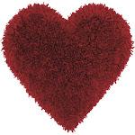 "Mina Victory Frame Heart Deep Red Shag Throw Pillow - 18"" x 18"""