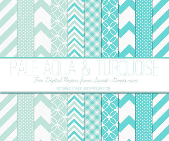 Pale Aqua Turquoise Papers Package