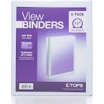 "Tops Round Ring View Binder, 1/2"", White - 6 Pack"