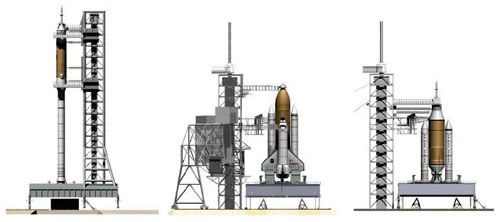 A comparison chart showing the size of the space shuttle relative to the current Ares 1 'Stick' (left) and the 'Stumpy' (right) design.  Image courtesy of NASASpaceflight.com