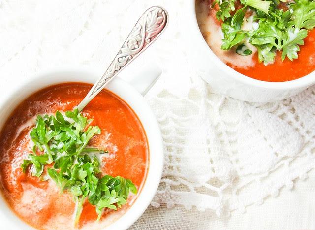 Tomato, eggplant and zucchini soup