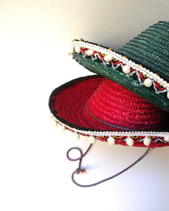 Vintage Sombreros.  1970s, Child Size, Mexican Hats.  Red, Green, Woven Straw.  SET OF TWO.  Kitsch, Vintage Decor, Display, Fiesta.