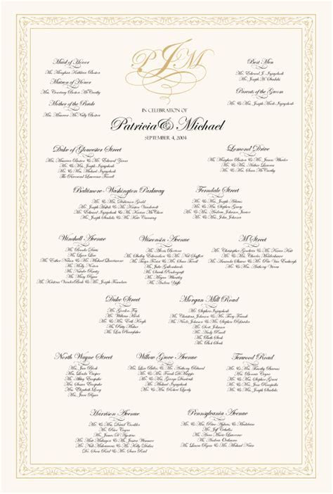 Celtic Leaf Border Celtic Wedding Seating Chart Monogram