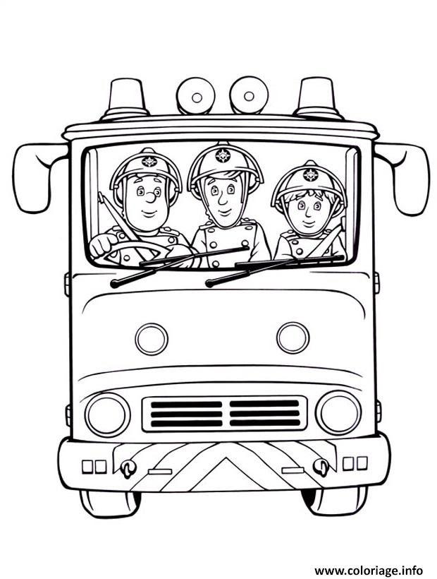 Coloriage Sam Le Pompier Et Camarades Dans Un Camion De Pompiers
