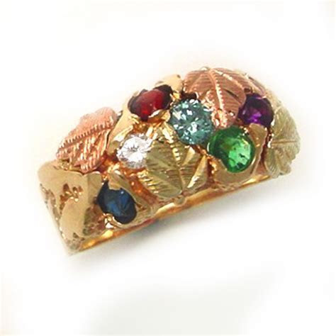 Black Hills Gold with birthstones ring   TamRon Jewelry