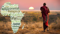 Masai warrior at sunset with a word cloud of Africa