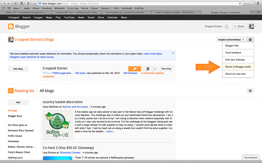 Locate an email for a noreply-comment with G+ via Cropped Stories