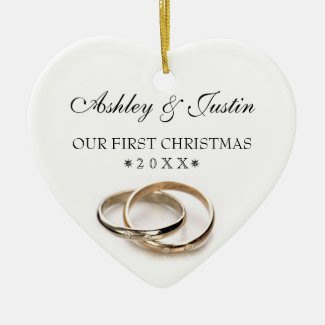 First Christmas Entwined Wedding Rings Ornament