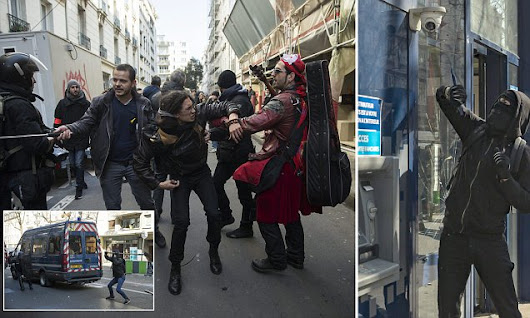 French riot police clash with left-wing protesters over labour reforms