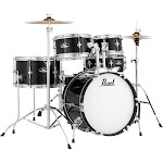 Pearl Roadshow Jr. Drum Set with Hardware and Cymbals Jet Black
