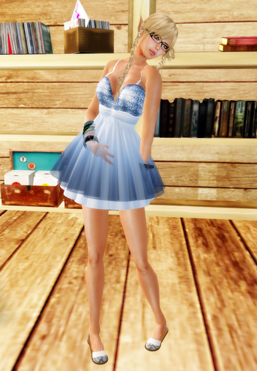 !BH ~Amaryllis Dress 'Satin&Veil' Blue Mini