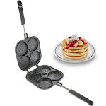 Perfect Small Bake & Serve Double Sided Pancake Maker Pan - 4 Decorative Designs For Eggs, French Toast, Omelette, Flip Jack & Crepes Pan