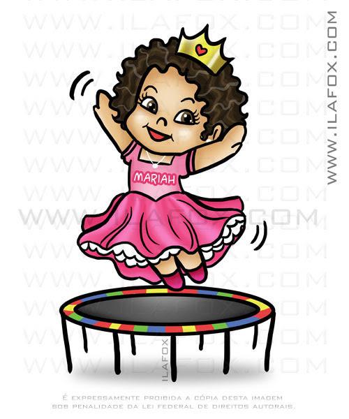 Desenho menina trampolim, desenho para festa infantil, desenho sob encomenda, by ila fox