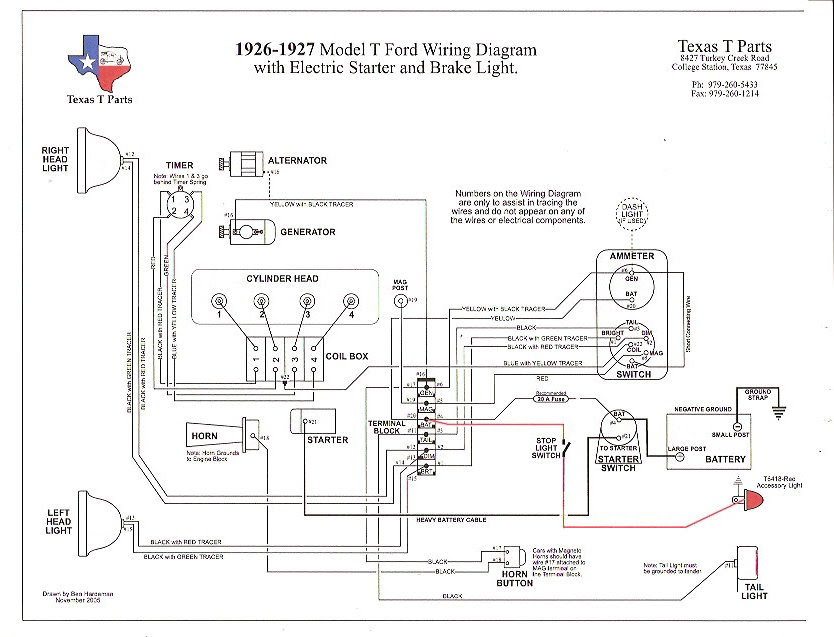 1927 Model T Wiring Diagram