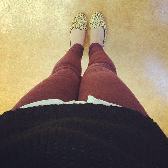 Burgundy jeans @topshop jeans, Jeffrey Campbell flats, white shirt and my steal of an @asos jumper (£6 in the sale) #todayimwearing