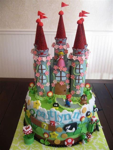 Super Mario Castle Cake with Princess Peach, Luigi and