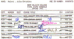 my final exam card, spring 1992