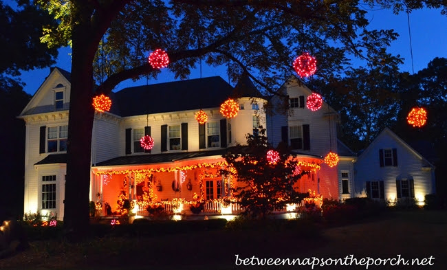 Decorating for Halloween with Exterior Lighting, Garland and Lit Orbs