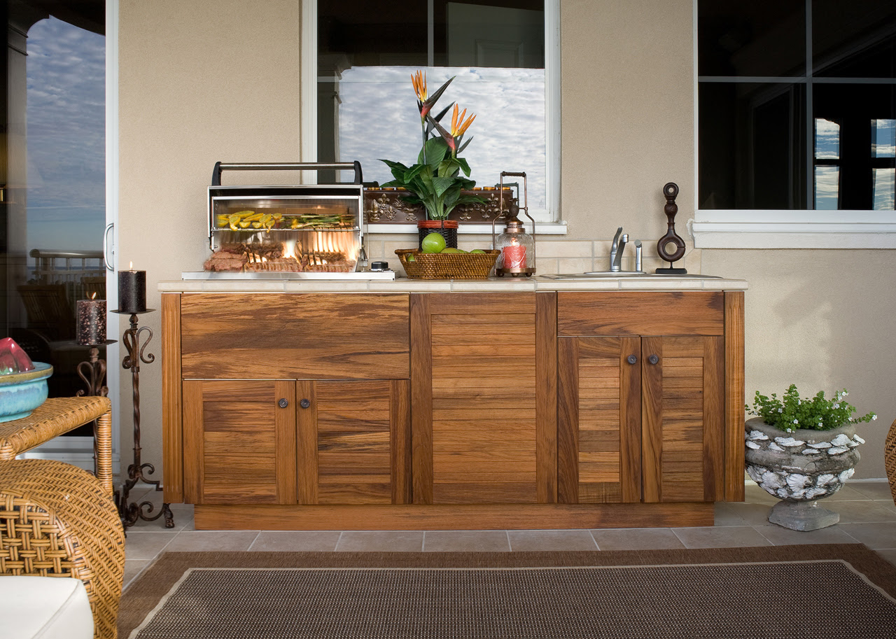 Outdoor Kitchens with Wood Cabinets
