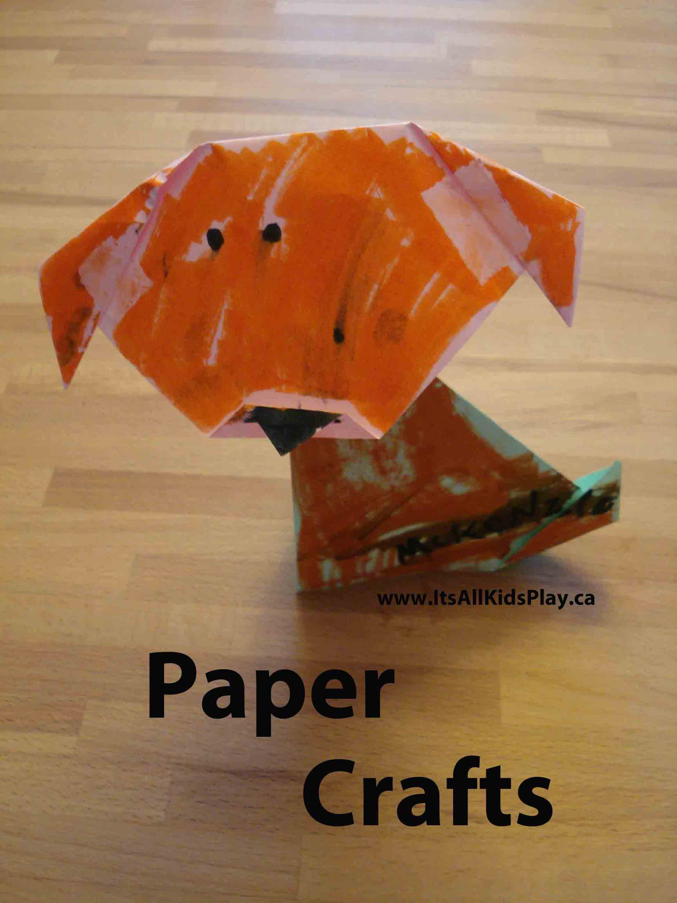 Crafts Made with Paper for Kids--an origmai dog