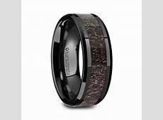 "Black Ceramic Rings   Dark Antler Inlay ""Charmont""   Tungsten Rings.com"