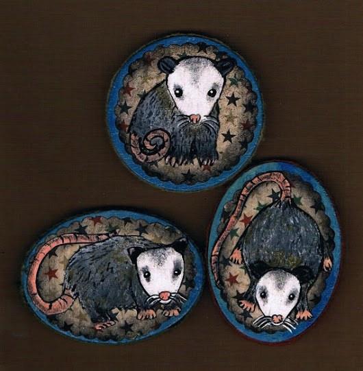 Hand Painted Opossum Magnet Set Mixed Media by KimbasCritters