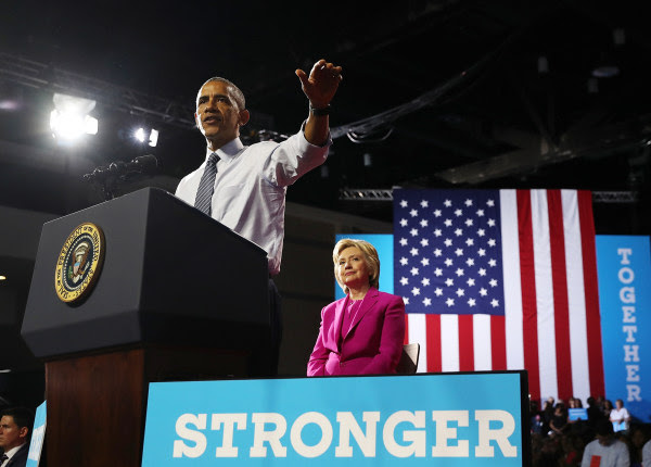 Image: President Barack Obama speaks during a campaign rally with Democratic presidential candidate Hillary Clinton