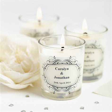 wedding favour personalised scented candles by hearth
